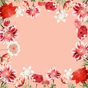 Struttura del fiore anemone rosso disegnato a mano con spazio di design