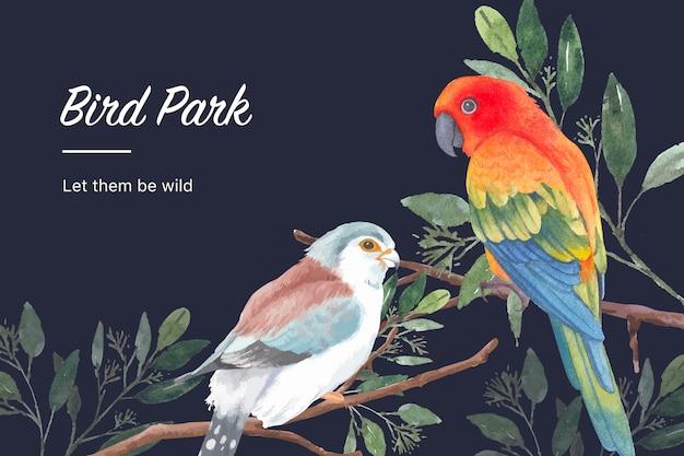 Struttura dell'uccello e dell'insetto con il fringillide, il conuro del sole, illustrazione dell'acquerello delle foglie.