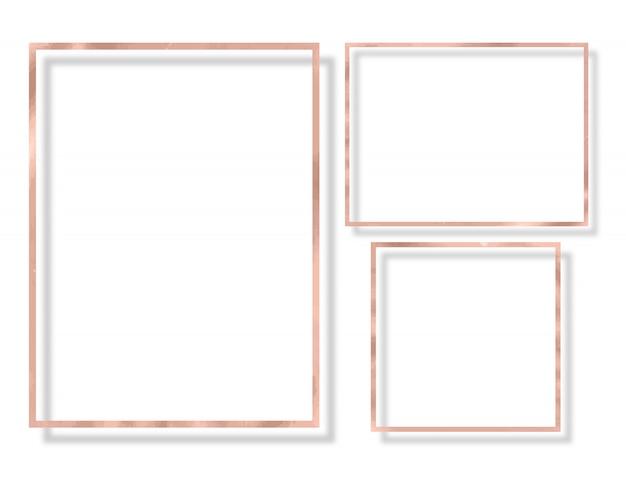 Struttura della macchia di struttura della rosa dell'oro. rosa lucido set di frame su bianco