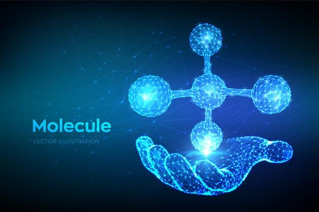 Struttura della molecola dna, atomo, neuroni. bassa poligonale molecola astratta in mano.