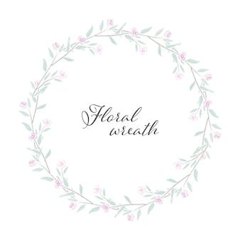 Struttura di corona di rose dell'acquerello rosa minuscola dolce