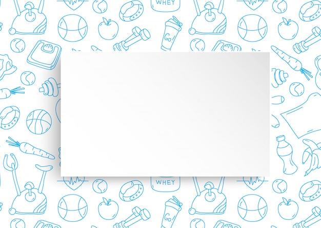 Struttura di forma fisica con il fondo disegnato a mano della palestra e il piatto di carta 3d.