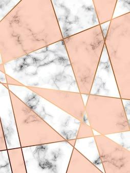 Struttura di marmo design con linee geometriche dorate, superficie marmorizzata in bianco e nero, sfondo lussuoso moderno, illustrazione vettoriale