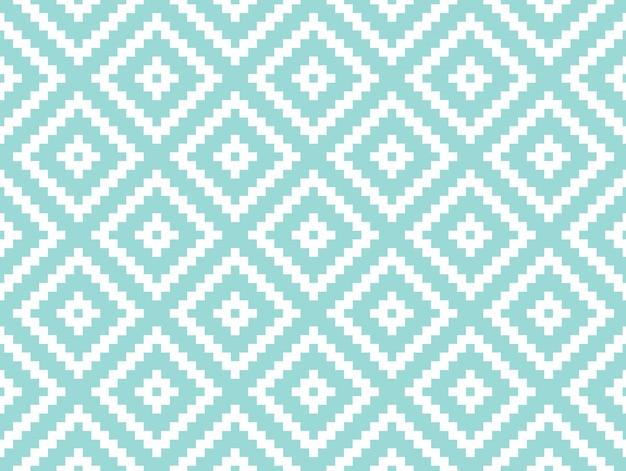 Struttura e modello alla moda moderni senza cuciture. piastrelle geometriche ripetute bianche con rombo punteggiato su uno sfondo turchese.