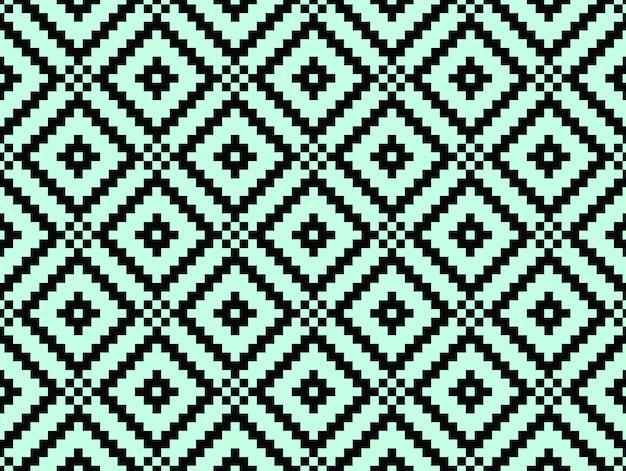 Struttura e modello alla moda moderni senza cuciture. piastrelle geometriche ripetute nere con rombo punteggiato su uno sfondo turchese.