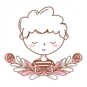 Struttura floreale della corona del ritratto dell'attrezzatura del fumetto alla moda del ragazzo