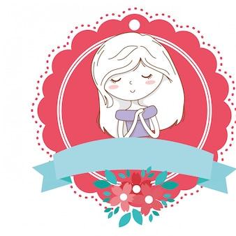 Struttura floreale della fioritura del ritratto dell'attrezzatura del vestito alla moda dal fumetto sveglio della ragazza