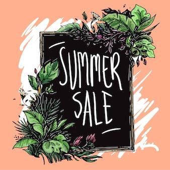 Struttura floreale di vendita di estate disegnata a mano