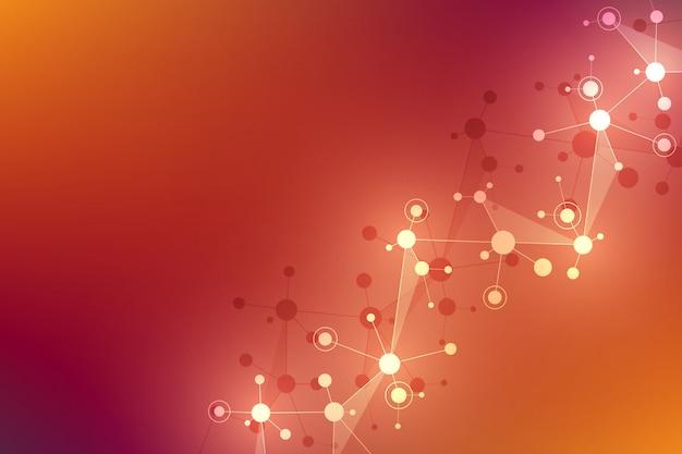 Struttura geometrica astratta con strutture molecolari e rete neurale