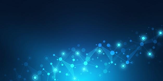 Struttura geometrica astratta con strutture molecolari e rete neurale.