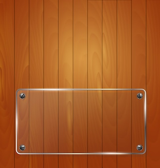Struttura in legno con sfondo struttura in vetro. illustrazione vettoriale