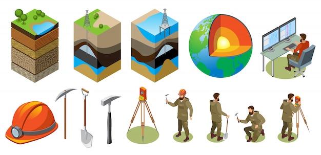 Struttura isometrica di esplorazione della terra degli strumenti geologici del laboratorio scientifico degli strati del suolo del globo