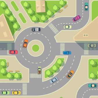 Struttura senza cuciture delle automobili urbane. sfondo vettoriale ricarica stradale con auto. illustrazione di giunzione autostrada trasporto