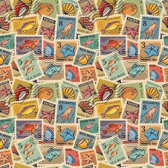 Struttura senza giunte con l'immagine dei francobolli con abitanti marini. carta per zattere, imballaggi, carta da parati, produzione di tessuti di design esclusivo