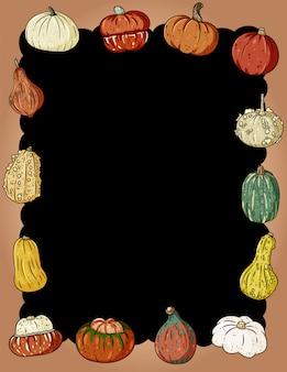 Struttura sveglia delle zucche di autunno con lo spazio della copia