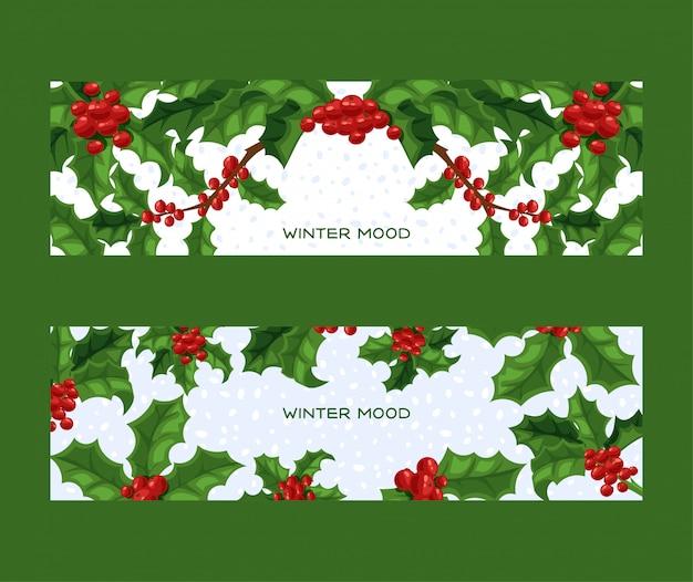 Struttura tradizionale della decorazione di natale delle bacche dell'agrifoglio sulla vacanza invernale di natale