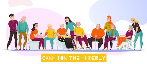 Strutture di cura senior della scuola materna per l'illustrazione orizzontale piana di vettore dell'insegna di assistenza di attività quotidiane dei residenti disabili anziani