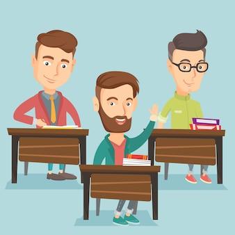 Studente alzando la mano in classe per una risposta.