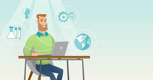 Studente che lavora all'illustrazione di vettore del computer portatile.