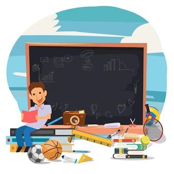 Studente che legge il suo libro con la lavagna per l'apprendimento - illustrazione di vettore - vettore