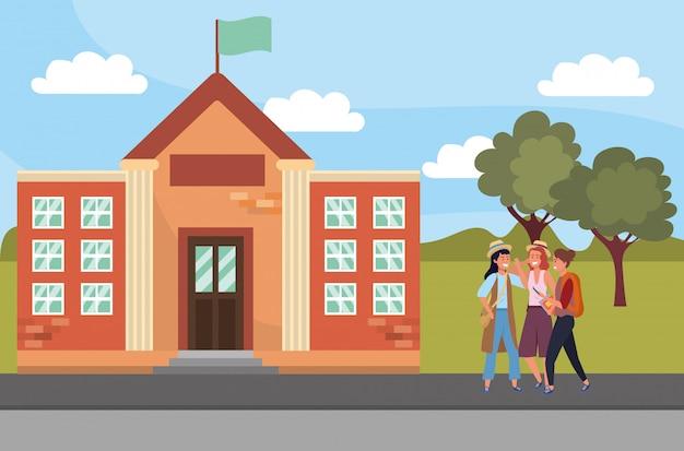 Studente che per mezzo dello smartphone sull'illustrazione della città universitaria