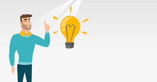 Studente che punta all'illustrazione vettoriale lampadina idea