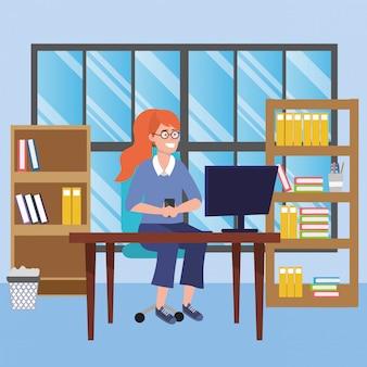 Studente che si siede nell'illustrazione dello scrittorio delle biblioteche