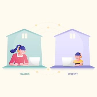 Studente che studia da casa. illustrazione piatta.