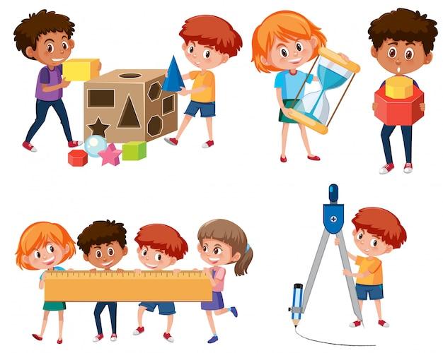 Studente con giochi di matematica