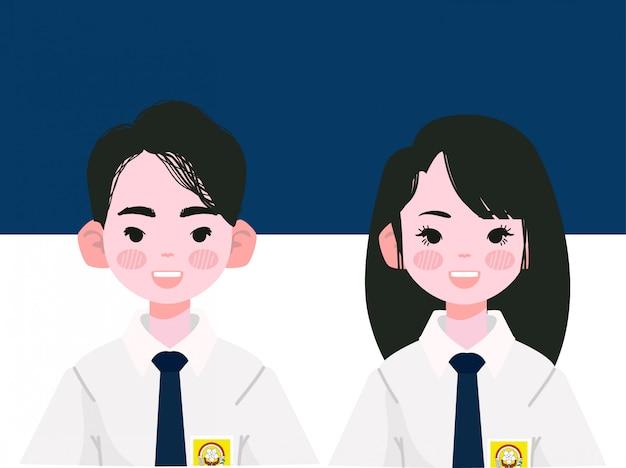 Studente di liceo minore in uniformi indonesiane