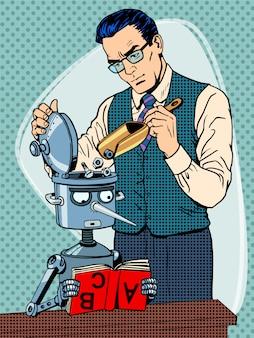 Studente di robot insegnante educazione scienziato