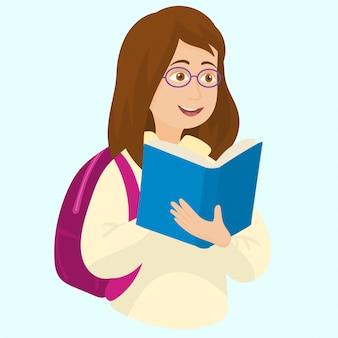Studente felice con libro e zaino