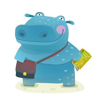 Studente ippopotamo con libro e borsa, andare a scuola