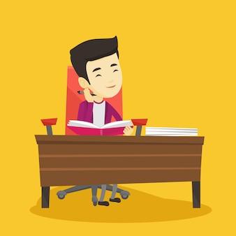 Studente iscritto alla scrivania.