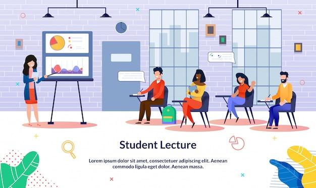 Studente iscrizione banner lecture, pubblico.