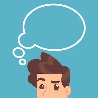 Studente istruito che pensa con la bolla di pensiero sopra la testa. concetto di educazione vettoriale