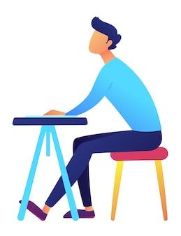 Studente maschio che si siede all'illustrazione di vettore dello scrittorio.