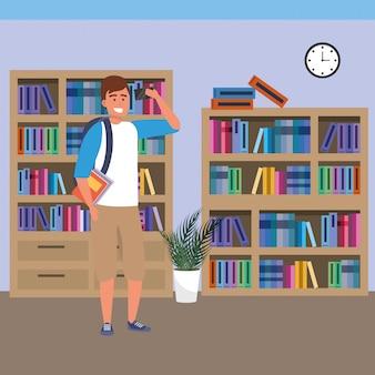 Studente millenario che utilizza smartphone sulla biblioteca