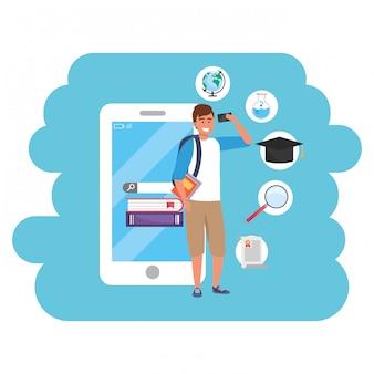 Studente millenario della formazione online tramite smartphone