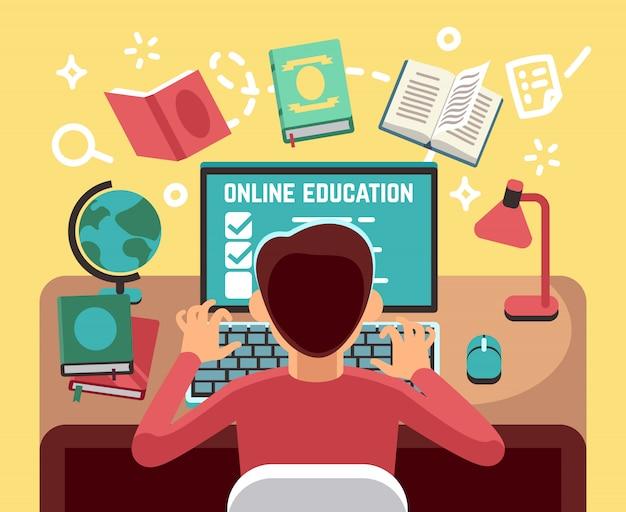 Studente o ragazzo di scuola studiando sul computer. concetto di vettore di lezioni e formazione online. studente al computer, illustrazione di educazione online allievo