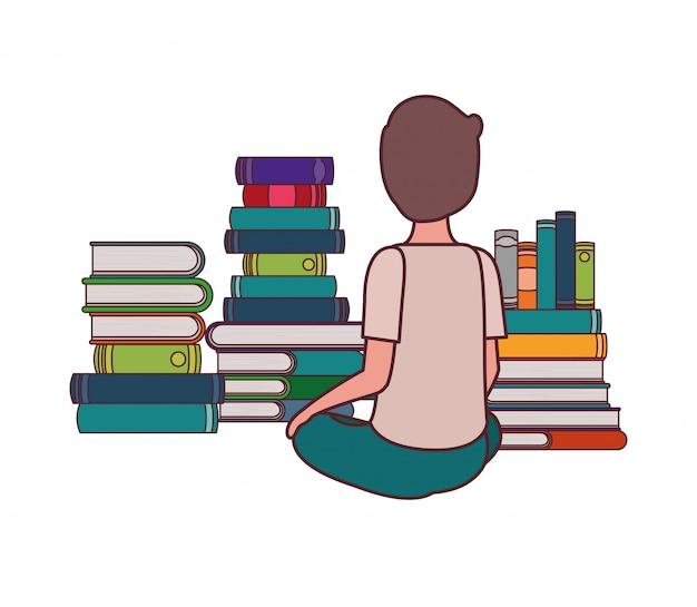 Studente ragazzo seduto sulla schiena con una pila di libri