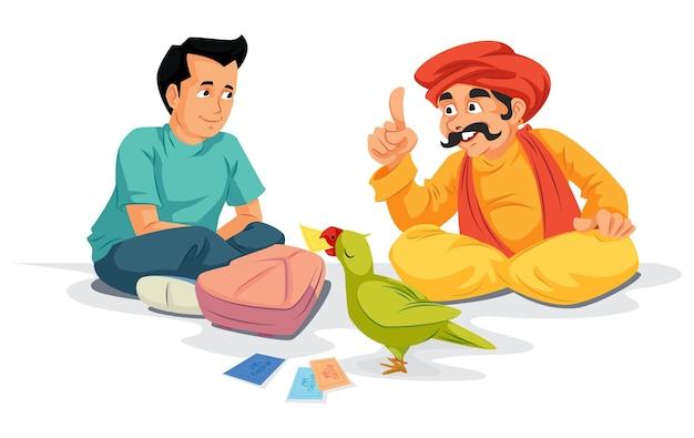 Studente seduto con astrologo pappagallo indiano
