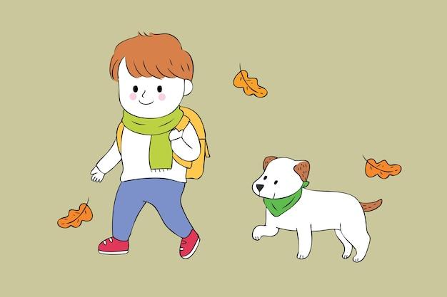 Studente sveglio e cane del fumetto che camminano al vettore della scuola.