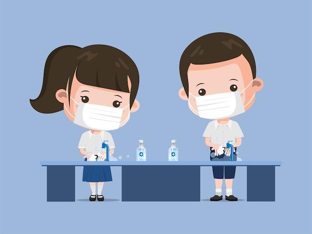 Studente tailandese sempre lavando le mani carattere. siam bangkok school thailandia sicura