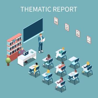 Studente universitario che presenta rapporto tematico davanti all'illustrazione isometrica di vettore della composizione 3d nella classe