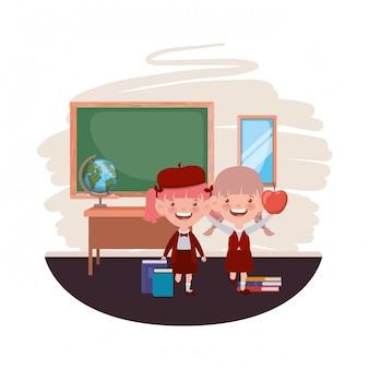 Studentesse con materiale scolastico in classe