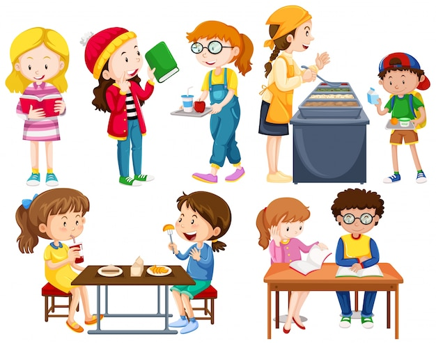 Studenti che fanno illustrazione di attività diverse