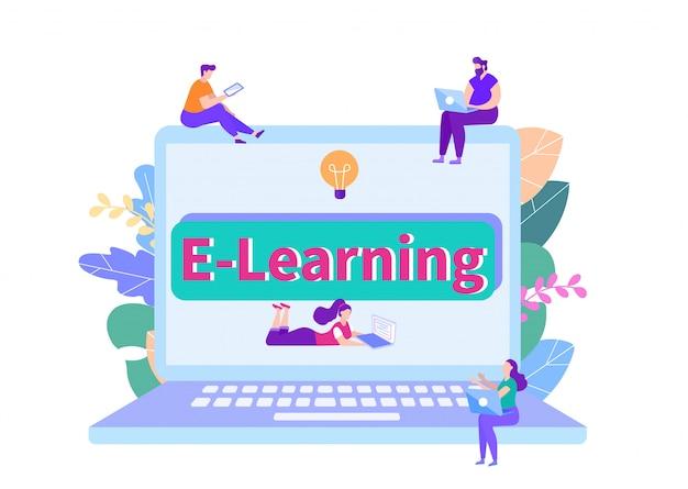 Studenti che imparano sui computer portatili. e-learning