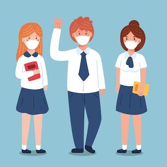 Studenti che indossano la maschera