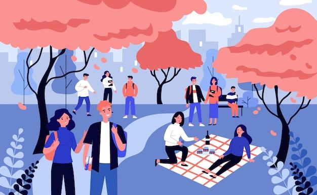 Studenti che si godono il tempo libero nel campus